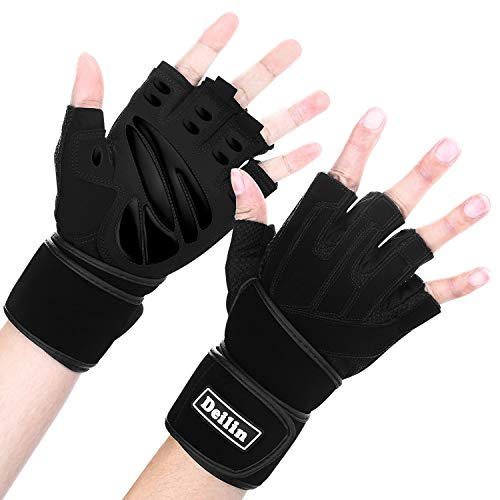 "Deilin Weight Lifting Gloves, Workout Gym Gloves for Men & Women with 18""Built-in Wrist Wraps, Full Palm Protection & Extra Grip. Great for Pull Ups, Cross Training, Fitness, WODs & Weightlifting – DiZiSports Store"