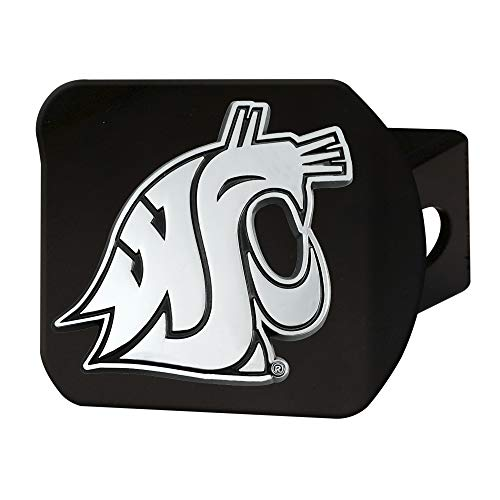 - FANMATS NCAA Washington State Cougars Hitch Cover - Blackhitch Cover - Black, Team Colors, One Sized