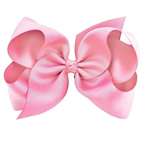 Light Pink Clip - Light Pink Grosgrain Bow Clip - Extra Large Bows with Alligator Clips by CoverYourHair