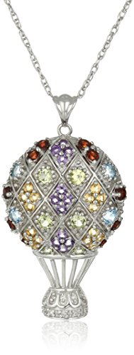 Sterling Silver Multi-Color Gemstone and Diamond Accent Hot Air Balloon Pendant Necklace, 18""