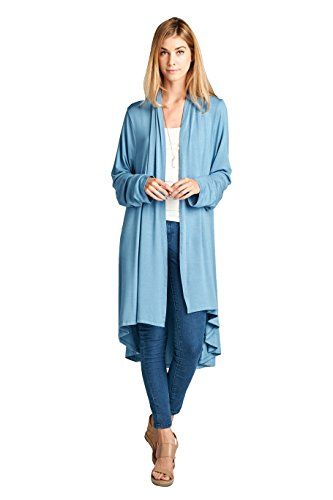ReneeC. Women's Extra Soft Natural Bamboo Long Open Front Cardigan – Made in USA (Small, Dust Blue)