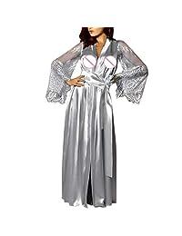 Pervobs Women Satin Long Sleeve Belt Long Nightdress Lace Lingerie Sleepwear Robe