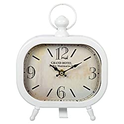CTG, Vintage Distressed Oval Desk Clock, 8 x 9 inches, White