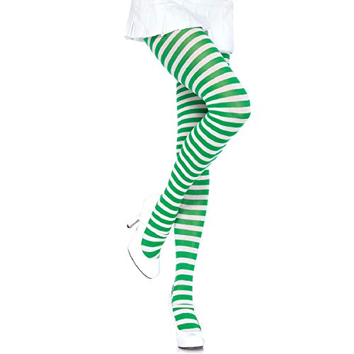 Leg Avenue Women's Nylon Striped Tights, Wht/Kelgr, O/S