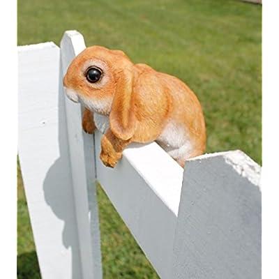 Hang on Bunny Rabbit Tan 13 Inch Hanger Resin Outdoor Fence Figurine : Garden & Outdoor