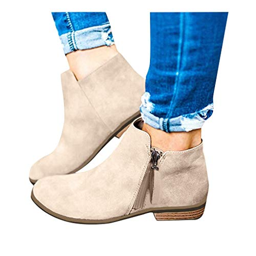 Clearance! Swiusd  Women Flock Leather Ankle Booties Retro Stacked Chunky Block Heels Short Boots Warm Closed Toe Outdoor Western Shoes (Khaki, US 6/CN 36)