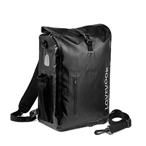LOVEVOOK 3in1 Fahrradtasche für Gepäckträger, 100% Wasserdicht 20L Reflektierend Fahrradrucksack Gepäckträgertasche, Fahrrad Umhängetasche Rucksack mit Abnehmbare Laptopfach, für Herren Damen Schwarz