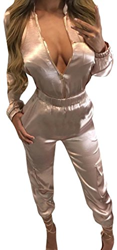 Farktop Women's Softy Lightweight Sation Bonded Zip-up Jumpsuit Romper