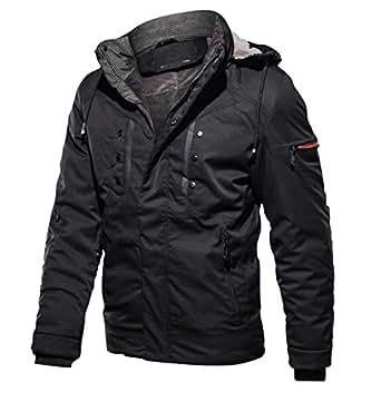 Miyoopark Men's Remove Hoodie Zip Waterproof Winter Cotton