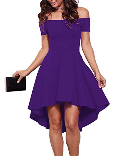 Classy Dresses For Teens (Sarin Mathews Women Off The Shoulder Short Sleeve High Low Cocktail Skater Dress Purple)
