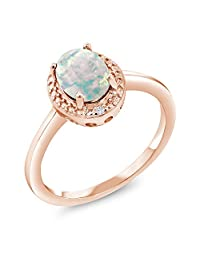 1.06 Ct Cabochon White Simulated Opal Diamond 18K Rose Gold Plated Silver Ring