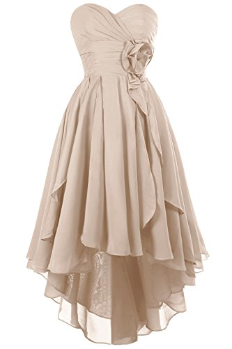 Fit Design Sweetheart Bridesmaid Dress Hi-Lo Chiffon Homecoming Party Prom Dresses(Champagne Size 14)