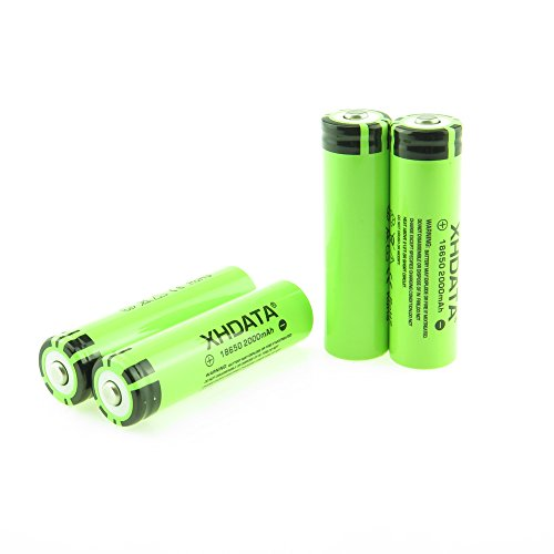XHDATA 2 Pieces 18650 Lithium battery 3.7V rechargeable battery 2000mAh