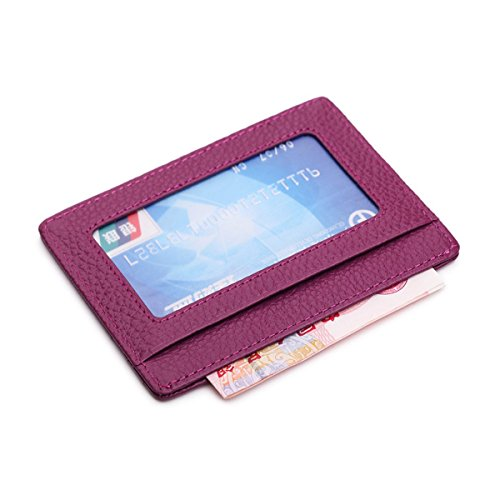 TOPMOOM Handmade Genuine Leather Unisex Slim Card Case Super Thin Fashion Card Holder (With ID window, Purple)