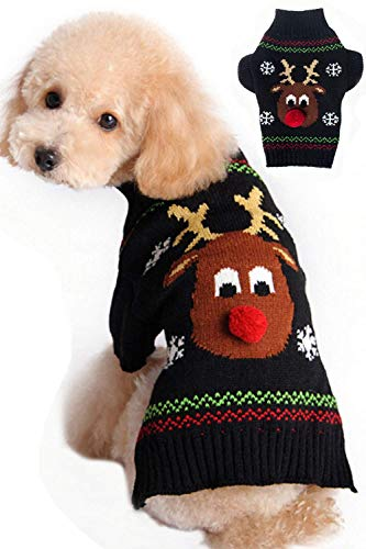 WAEEUSD Pet Cat Winter Knitwear Warm Clothes Dog Sweaters Christmas Cartoon Reindeer ()