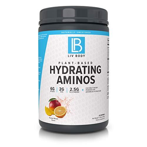 LIV Body | LIV Plant Based Hydrating Aminos | 6g of BCAA, 2g of EAA & 2.5g of Glutamine | Coconut Water Powder for Advanced Hydration (Orange Mango)