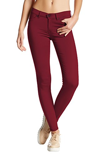 (HyBrid & Company Womens Super Stretch Comfy Skinny Pants P44876SK Wine L)