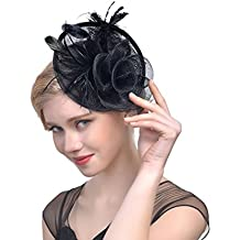 FeiYu Crafts Cocktail Feather Mesh Net Sinamay Fascinator Hat with Clip