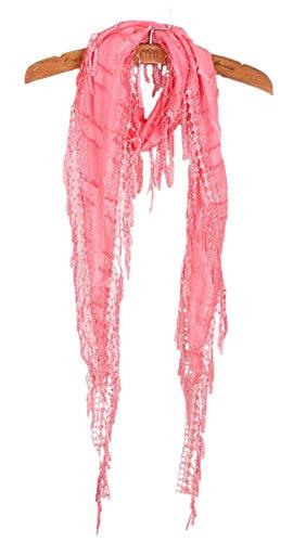 Slim Tassel Cotton Neck Scarf Soft Knit Wrap Melon Red ()