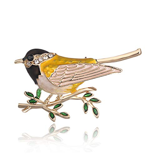 AILUOR Cute Bird Brooch Pins, Enamel Bird Collection Custom Accessories Wedding Brooches Jewelry Gifts Women Teen Girls (Yellow) -