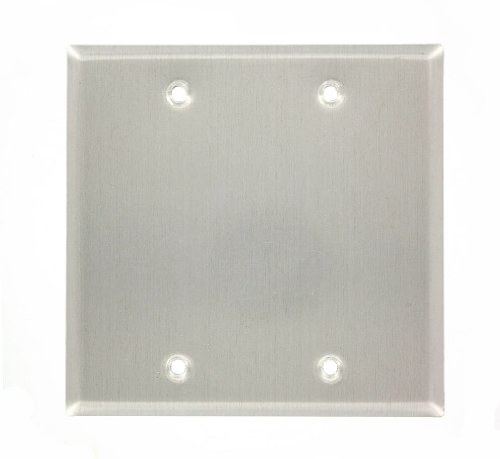 (Leviton 83025-EXT 2-Gang No Device Blank Wallplate, Weather-Resistant, Aluminum, Box Mount, Gray)