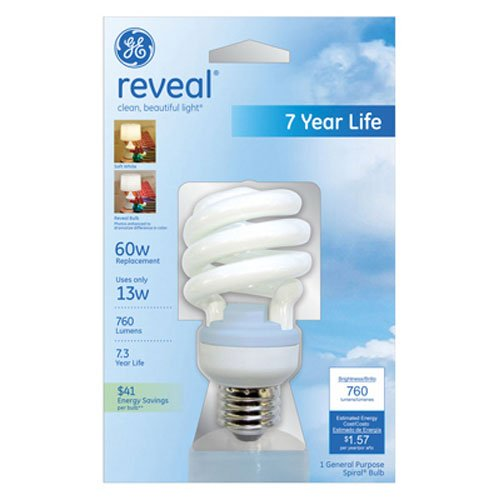 - GE Lighting 75406 Reveal Spiral CFL 13-Watt (60-watt replacement) 800-Lumen T3 Spiral Light Bulb with Medium Base, 1-Pack