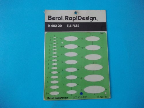 Berol Rapidesign R-402-20 Technical Drawing Template Ellipses 20 Degrees 1/8'' x 2'' Hot-Stamped Centering Lines Made in USA by RAPIDESIGN