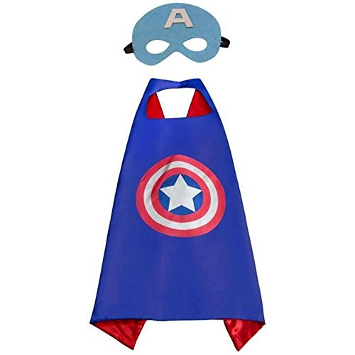 JDProvisions Captain America Blue Kids Cape and Mask - Costume Make America Captain A
