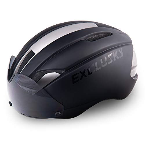 Exclusky Prone Adults Bike Helmets Removable Shield Visor Road Cycling (Black) ...