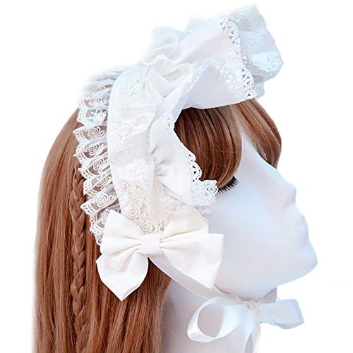 Price comparison product image BLESSI Women's Lolita KC Headband Ribbon Lace Headdress Vintage Headwear (White)