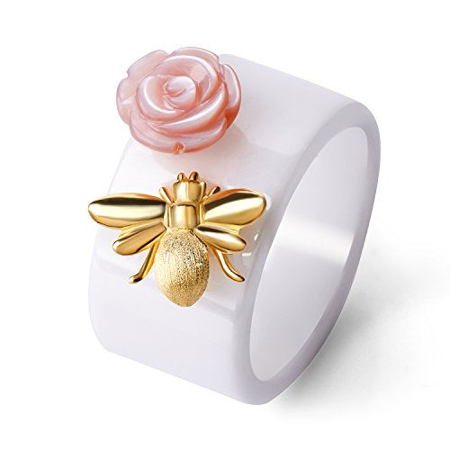 Lotus Fun S925 Sterling Silver Ring Handmade Unique Thumb Ring Bee Kiss from a Rose Ceramics Jewelry for Women and ()