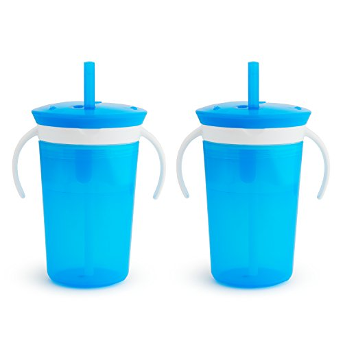 (Munchkin SnackCatch & Sip 2-in-1 Snack Catcher and 2 Piece Spill-Proof Cup, Blue)