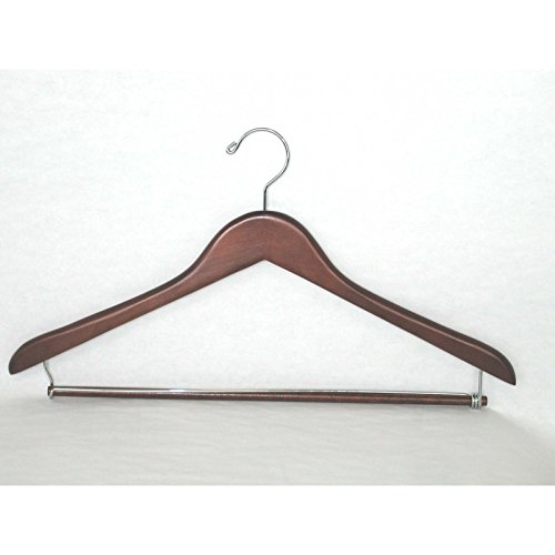 VidaNaticle Genesis flat suit hanger w/lock bar, light walnut, 50 pcs/case (Genesis Flat Suit Hanger)