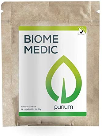 Purium Biome Medic – 60 Vegan Capsules – Gut Health Support Supplement, Removes GMO Toxins, Supports Good Bacteria, Repairs Microbiome – Vegetarian, Gluten Free – 60 Servings