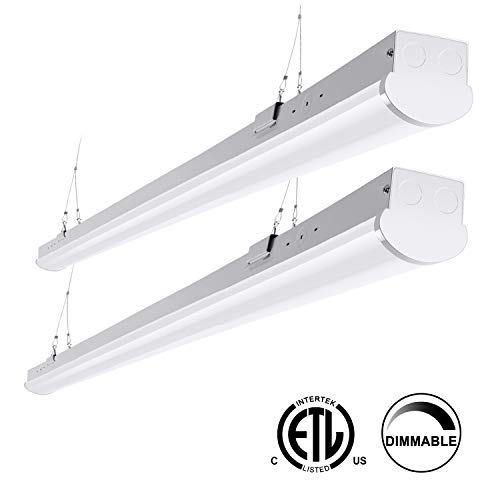 FaithSail 8FT LED Strip Lights Linkable Linear Shop Garage Light, 110W 12500LM, 1-10V Dimmable, 5000K, 8 Foot Commercial Workshop Warehouse Lighting Fixtures, T8 Fluorescent Tube Replacement, 2 Pack - Lighting 1 Light Fluorescent Strip