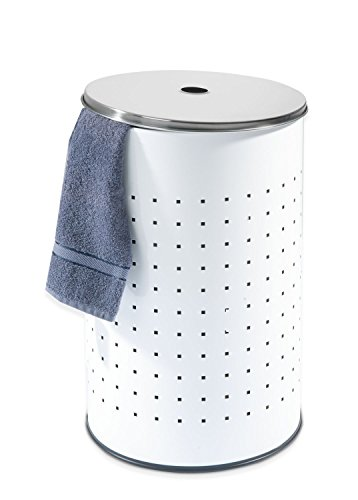 Wäschetonne BARREL, Edelstahl, weiß, ca. 54 Liter, 57,5 cm hoch