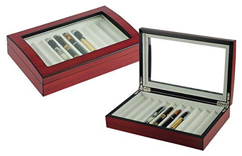 10 Pen Fountain Cherry Wood Display Case Holder Storage Organizer Collector Box ()