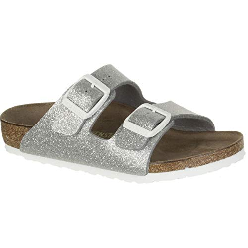 (Birkenstock Arizona Birko-Flo Galaxy Silver Birko-flor Sandals - 31 (US 13-13.5 Little Kid) Narrow)