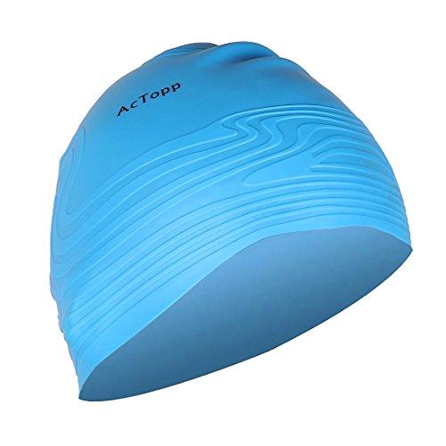 AcTopp Erwachsene Unisex Badekappe Classic Hochwertige Silikon Bademütze Badehaube Perfekte Passform Blau
