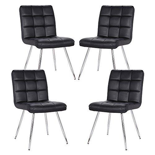 POLY & BARK EM-308-BLK-X4 Petras Vegan Leather Chair, Black