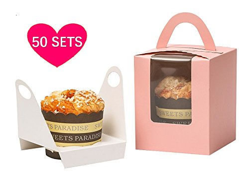 YoTruth Bakery 50 Count Pink Blush Pastry Single Cupcake Boxes with Clear Window Handle and Inserts For Easter High Topping Cupcakes Baby shower and Birthday Party Easy Pop Bottom