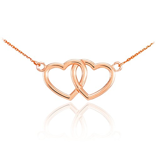 14k Rose Gold Double Open Heart Necklace, ()