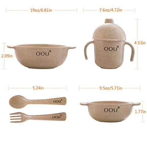 Baby Feeding Bowls - Wheat Fiber Ultimate Baby Feeding Set Baby Bowls Fork Spoon and Cup Perfect To Go Storage FDA Approved BPA Free CPC Certified by OOU (Image #4)