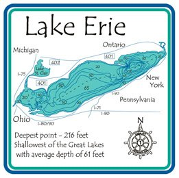 Amazoncom Lake Erie D Laser Carved Depth Map Great GL Inch - Lake erie depth map free