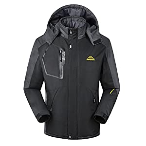 iLoveSIA Men's Mountain Waterproof Fleece Ski Jacket Windproof Rain Jacket Black Size 2XL