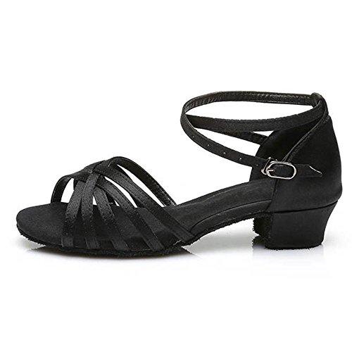 Talons Enfants de Femmes Chaussures LEIT Tango Bal Chaussures 3 Salsa Black Professionnel Filles Danse Latine YFF de q44OA