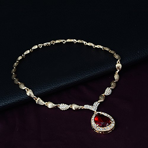 ShiningLove Luxury Gold-plating Stylish Water Drop Rhinestone Four-piece of Necklace Ear Studs Bracelet Ring Women Jewelry Set Red Amber Rhinestone Necklace