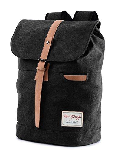 Vintage Canvas Laptop Backpack School College Rucksack Bag (Black) - 8