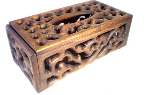 Luxury Eelegant Wooden Tissue Box Handmade Carving by The Luxury Box