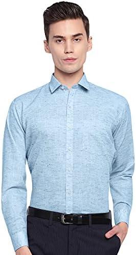 Arihant GHPC Plain Solid Cotton Linen Full Sleeves Regular Fit Formal Shirt for Men